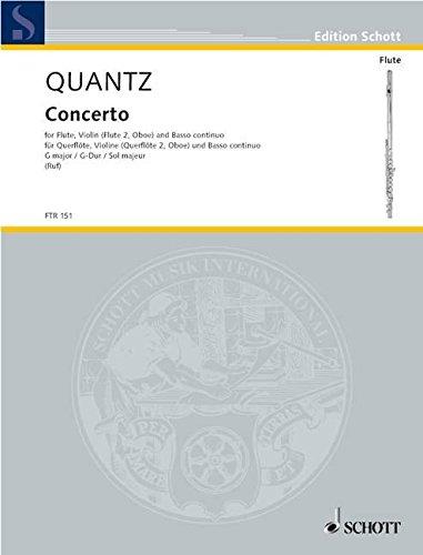 Concerto G-Dur: Flöte, Violine (2. Flöte, Oboe) und Basso continuo. Spielpartitur. (Edition Schott) (Flöte Concerto)