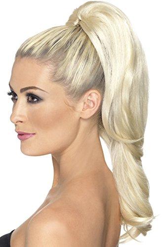 Smiffys, Damen Hoher Pferdeschwanz Haarverlängerung mit Clip, Blond, One Size, 42305