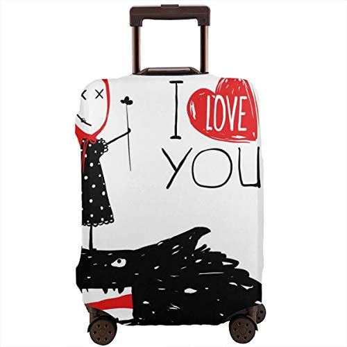 Travel Luggage Cover,Little Red Riding Hood Loves Bad Horrible Wolf Plot Twist Fairytale Artwork Suitcase Protector Bunny Hood