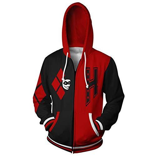 DTYTX 3D HD Unisex Hoodies Print Sweatshirts Mantel Tops Pullover Reißverschluss Cosplay Langarm Sportbekleidung Harley Quinn S (Quinn Harley Hoodie)