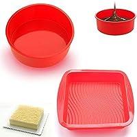 SMUER Molde De Silicona Rectangular Redondo para Tartas Flexible Antiadherente para Hornear Cocina Silicona, Rojo