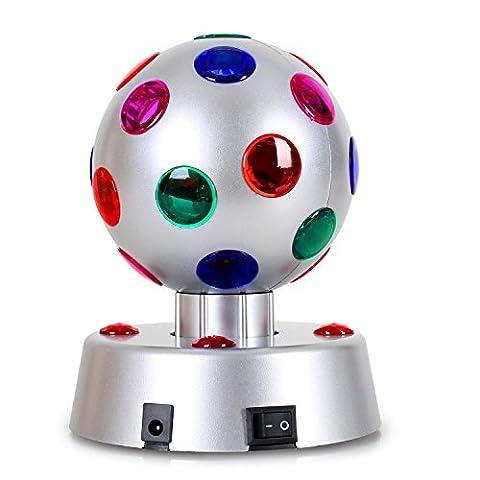 OneConcept Disco Ball Party LED Light Effect Compacr Black Plastic Case Durable Design Low Heat Generation (5 x LEDs and 23 Colour Lenses, 13.5cm Diameter, Motorised Rotation Motion) Silver