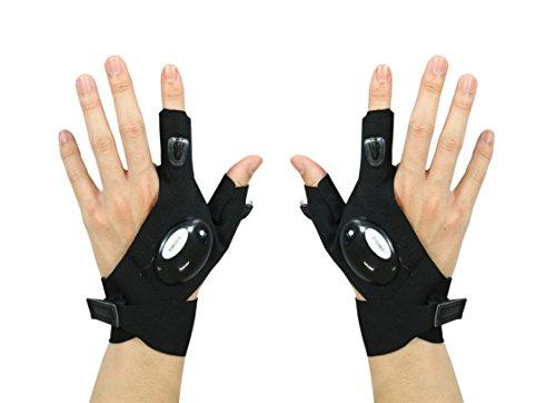 Garyesh Packung von zwei Draussen LED Handschuh Taschenlampe Fackel Abdeckung Mit 2 LED-Licht für Nacht Angeln Camping