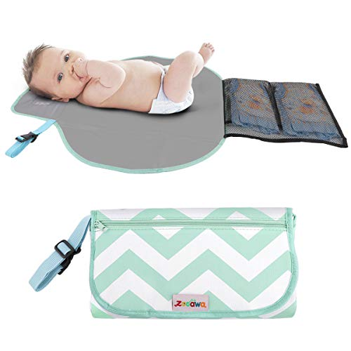 Zooawa Portable Diaper Changing Pad Mat Waterproof Folding Station Clutch Travel Carrying Bag for Baby Infants, Green Stripe -