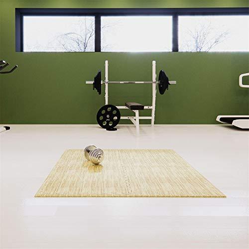 WEST&EAST Schutzmatten 4er Set Fitness 60 x 60 x 1,2 cm holzoptik Puzzlematten | Bodenschutzmatten | Unterlegmatten | Fitnessmatten für Bodenschutz, Sport, Fitnessraum, Keller, Matten