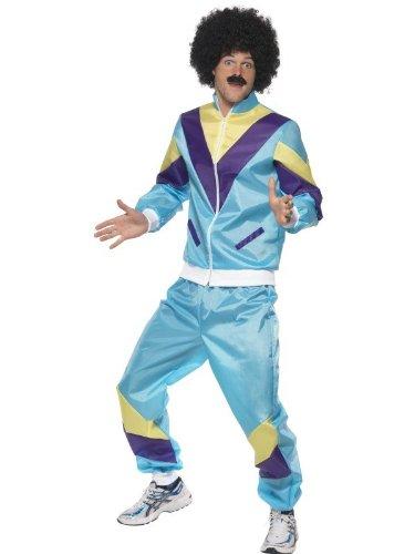 Dinge Kostüm Wilde (80er Jahre Kostüm für Herren Trainingsanzug Training Assianzug Assi in Hellblau hellblauer Anzug Gr. 48/50 (M), 52/54 (L), 54/56 (XL),)