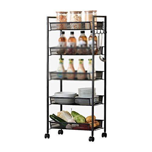 Kitchen furniture - Panier à panier en rack carré avec porte-four et four à micro-ondes WXP (Couleur : Black five-layer)