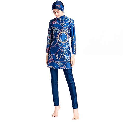 Grsafety Damen Muslimischen Badeanzug - 3 Teilige Sets Islamischen Full Cover Bademode Bescheidene Badebekleidung Swimwear Burkini Frauen, Blau, M