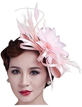 CLOCOLOR Sombrero Tocado fascinator de pelo con pluma de moda Accesorios del pelo nupciales fiesta boda