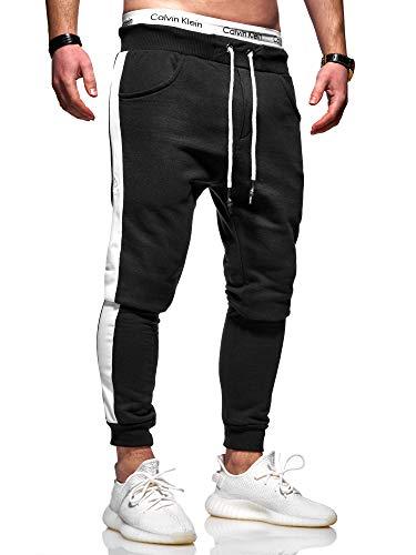 Rello & Reese Herren Jogginghose Trainingshose Hose Sporthose JG-3015 [Schwarz/Weiß, M]
