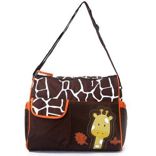 Mochilas de Bebé Bolsa De Pañales Cambiar Pañal Bolso Multifunctional para madre -Patrón Giraffe naranja