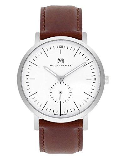Mount Parker Herren-Armbanduhr ODYSSEY Silber 40mm | Analog Quarz | Lederarmband braun mit Dornschließe | Weißes Ziffernblatt mit Antireflex-Saphirglas