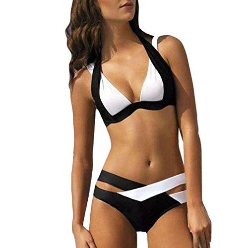 SUCES Damen Bikini Set Bademode Badeanzüge Bikinis für Frauen Mädchen Bandeau Push Up mit Bügel Sexy Split Badeanzug Swimwear Neckholder Brustpolste Cups Strand Swimsuit Tankini (3XL, Black)
