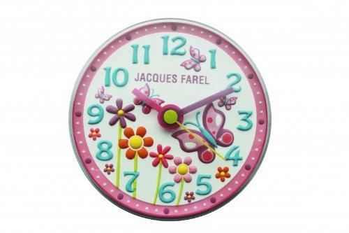 Jacques Farel WAL10 - Orologio analogico da parete per cameretta bambina, in plastica, silenzioso, con motivo a farfalla
