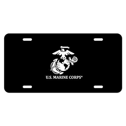 US Marine Corps USMC Weiß Logo auf schwarz Offizielles Lizenzprodukt Neuheit Metall Vanity Tag License Plate (Marine Corps Nummernschild)
