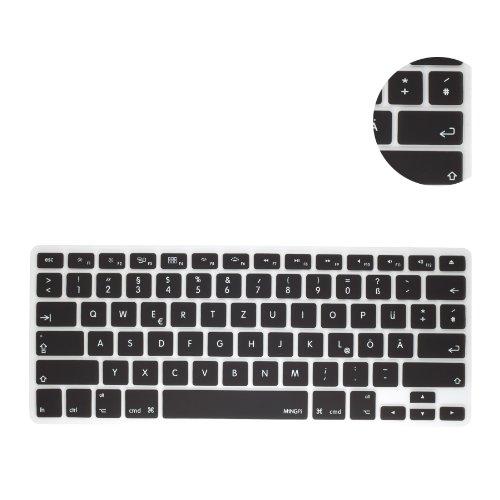 MiNGFi Deutsche Tastatur Silikon Schutz Abdeckung QWERTZ für MacBook Pro 13, 15, 17 Air 13 Zoll USA Keyboard Layout Silicone Cover - Schwarz