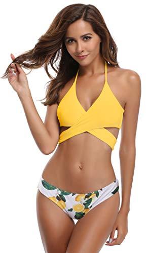 SHEKINI Damen Bademode Push Up Bikini Set Zweiteilige Badeanzug Strandkleidung Crossover Neckholder Triangel Oberteil Bandeau Strandmode Sport Split Blumen Bikinihose (XS, Gelb)