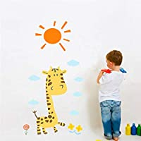 Lovely Giraffe Flower Wall Stickers for Kids Rooms Home Nursery Decor Animals Wall Decals DIY Mural Art PVC Posters