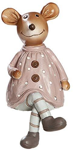 dekojohnson Kantensitzer Figuren Deko-Maus - Dekofigur für den Garten - Maus-Frau für den Blumentopf Creme braun 17cm