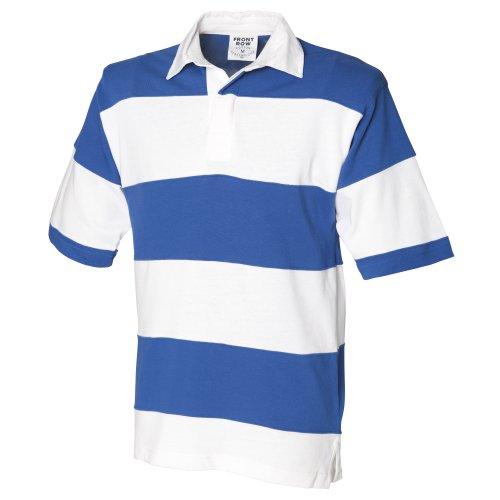 Front Row Herren Rugby Polo-Shirt, Kurzarm, gestreift Weiß/Marineblau