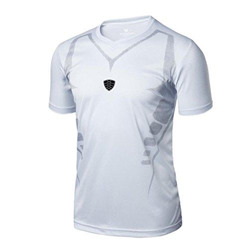 Hombre Deportes Camisetas❤️LILICAT® Blusa Tops de Compresión de Entrenamiento Fitness,Gimnasio,Correr, Yoga Camisetas de Tirantes Gym Hombre (L,  Blanco)