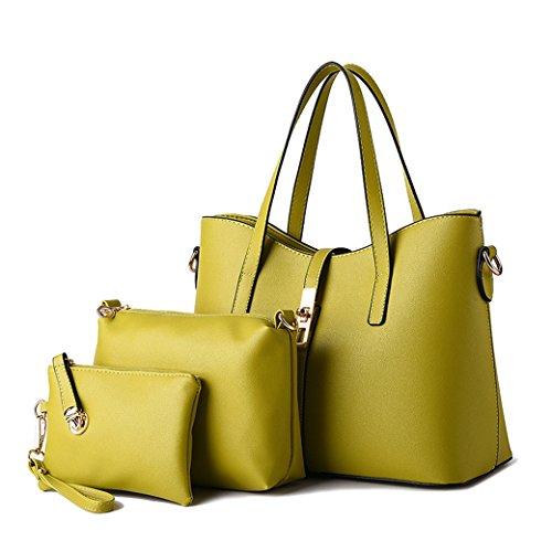 Set di 3 Borse - Donna Borse a Mano e Borse a Spalla Borse a Tracolla - Borse di Cosmetici - Borsetta di Frizione Argento verde