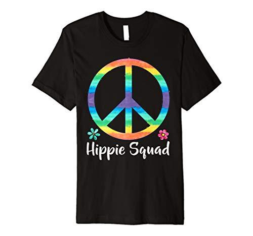 Cute Rainbow Peace Hippie Squad Blume Zitat Mädchen T Shirt