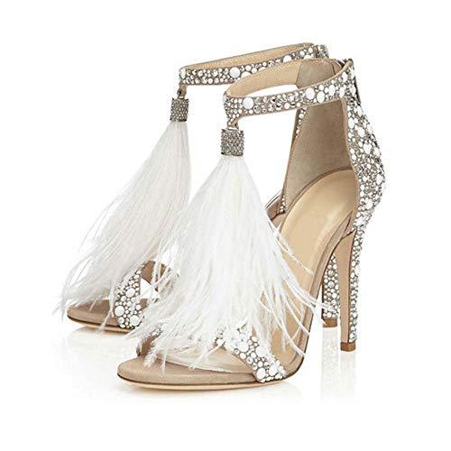 GONGFF Peep Toe Pumps, Damen Open Toe Ankle Strap Stiletto High Heel Kleid Sandale Slip-On angenehm weich,Silver,36 Ankle Strap T-strap-pumps