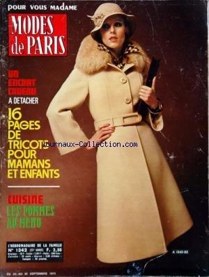 MODES DE PARIS [No 1342] du 24/09/1974 - 16 PAGES DE TRICOTS POUR MAMANS ET ENFANTS - CUISINE - LES POMMES AU MENU