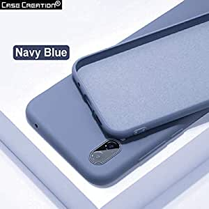 Case Creation Fashion Silicone Soft Buttons,Flexible Edge,Semi Hard Shell OG Silk Smooth Feel Skin TPU Cover (Velvet Lining Protection Back Panel) Solid Color Phone Case for Oneplus 7 Pro (Dark Blue)