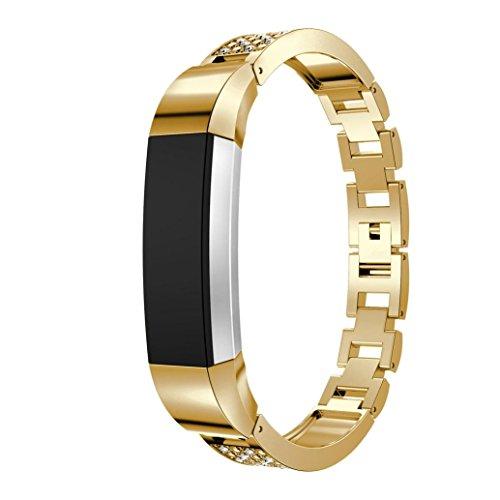 Upxiang Ersatz-Metall-Uhrenarmbänder mit Strass für Fitbit Alta Smart Watch (golden)