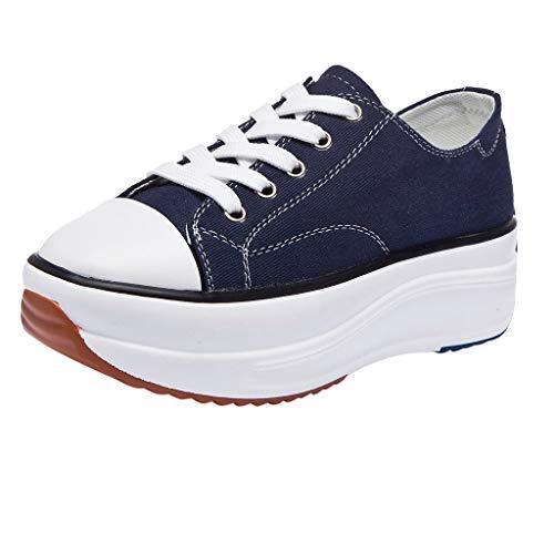 Damen Plateauschuhe Stoffschuhe, LeeMon Mode Frauen Leinwand Sneakers Plattform Schuhe Freizeitschuhe Trainer Low-Tie Schuhe -