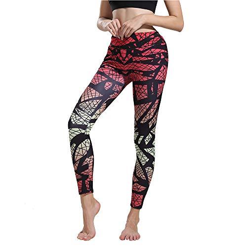 Leggings Damen, ABsoar Damen Leggings Laufhose Gym Yoga Hosen Fitness Elastische Leggings Sporthosen (S, Blätter Rosa)