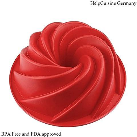HelpCuisine Premium Qualität Silikon Kuchenform Backform Kuchenbackform Flexibel Gugelhupf Form in rot Ø 24