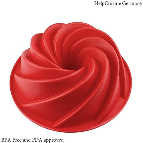 Helpcuisine stampo in silicone per torte/tortiera silicone a spirale, stampo realizzato in silicone privo di bpa ed approvato dalla fda, termoresistente fino a 240°, (24 cm/colore rosso)