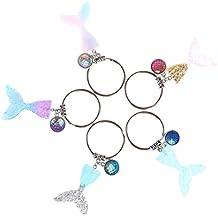 Bloomeet - Llavero con forma de cola de sirena (5 unidades, 5 colores), diseño de cola de sirena y cola de sirena, resina con purpurina y purpurina, ...