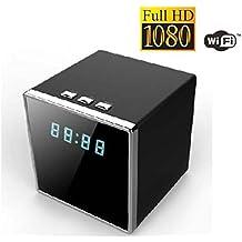 Mengshen® Wifi 1080P HD mini altavoz de forma cuadrada ocultado visión nocturna de detección de movimiento cámara del reloj de MS-WH10