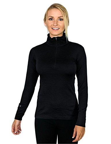 Midweight Wolle Lange Unterwäsche (WoolX Brooke-Damen Merinowolle, 1/4-Oberteil, weiches, mittelschweres Merinowolle, Damen, Brooke, schwarz, Large)