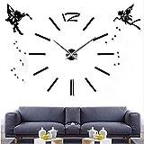 Grande horloge murale de bricolage 3D design moderne Ange décoration horloge de cuisine de grande taille Sticker mural miroir acrylique horloge murale grand 2