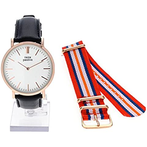 Señoras THINK POSITIVE® Modelo SE W92 Rosè Reloj Grande Del Plano De Acero De La Correa De Cuero Negro Hecho En Italia Y Cordora Color Rojo, Azul, Naranja