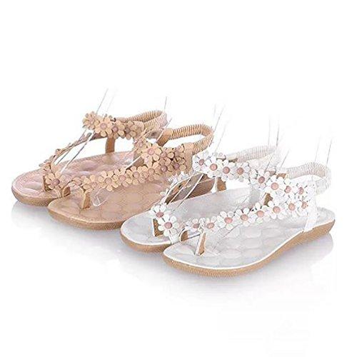 YOUJIA Femmes De Bohême Simple Sandales Avec Petits Fleurs Chaussures De Plage Blanc #2