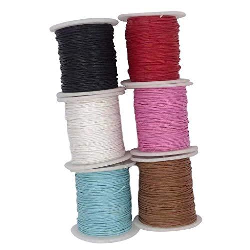 IPOTCH 6 Rollos de Cordón de Algodón Encerado Cuerda Trenzada de Rebordear Impermeable para Hacer Collar, Pendientes, Tapices - #1