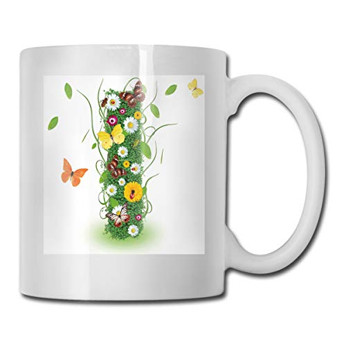 Funny Ceramic Novelty Coffee Mug 11oz,Nature Themed Alphabet Element Green Foliage Daisies Butterflies Capital I,Unisex Who Tea Mugs Coffee Cups,Suitable for Office and Home Butterfly Demitasse