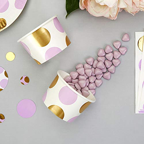 te lila gold 8 Stück - Pappbecher Eiscreme Pappeisbecher Einwegeisbecher Einwegbecher Eiskrem Dessertbecher Pappe Candy Bar Pappbecher Frozen Yogurt Dots lila gold ()