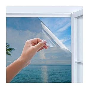 Rhodesy Spiegelfolie Selbstklebend, Homegoo One Way Silber Reflektierende Fensterfolie, UV-Schutz Sonnenschutz, Sichtschutz Glas-Tönungsaufkleber, 90 x 200 cm