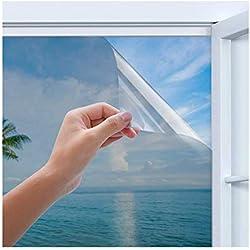 Rhodesy Film Miroir Fenêtre sans Tain, Homegoo Film Adhésif réfléchissant pour Fenêtre Argenté One Way, Bloqueur De Soleil Anti-UV, Anti-UV, Protection de La Vie Privée, 90 x 200 cm(35.4 x78.7 inch)