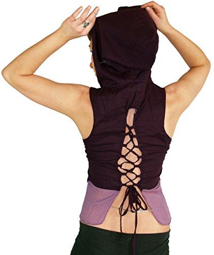 Guru-Shop Feen Elfen Zipfel Top MA-14, Damen, Baumwolle, Tops, T-Shirts, Shirts Alternative Bekleidung Plum