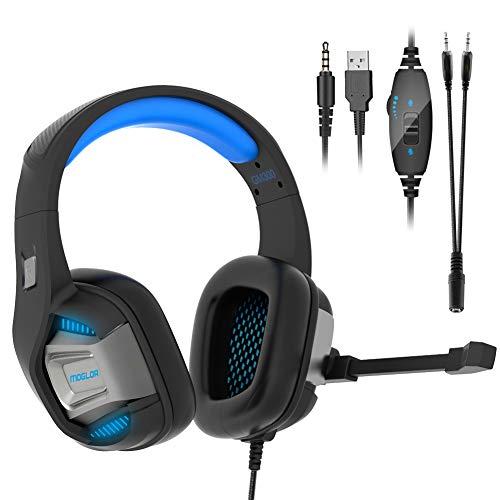 Gaming Headset PS4 PC Xbox One Gamer 7.1 Surround Stereo Sound Bass Over Ear Kopfhörer Rauschunterdrückung mit Mikrofon 3,5mm Audioausgang für Nintendo Switch Laptop Mac Tablet