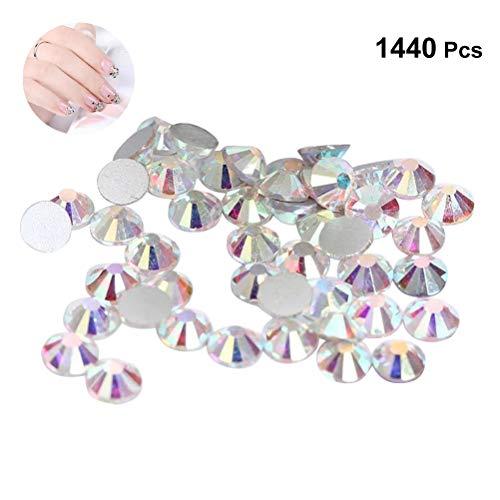 Frcolor Perles dos plat moitié cristal artificiel verre rond AB cristaux charmes pour ongles maquillage vêtements chaussures 1440pcs