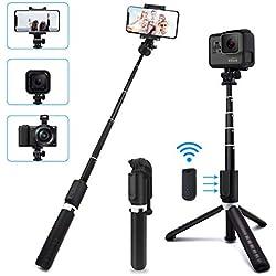 SYOSIN Bastone Selfie, 4 in 1 Selfie Stick Treppiede con Telecomando Rimovibile, Monopiede Wireless Supporto Telefono per Gopro/Fotocamera/iPhone/Samsung/Android (Smartphone 3,5-6 Pollici)